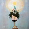 Desenho em quadro com menino de barba e cabelos pretos, com uma casa de passarinho e um passarinho sobre a cabeça, e no topo um sol