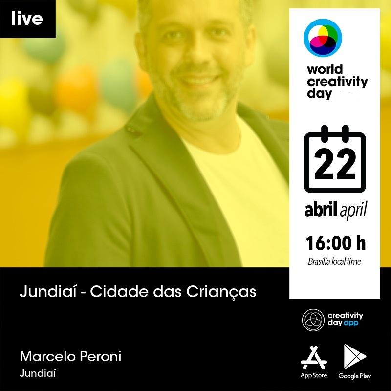 Convite com informações de evento, que será realizado no dia 22 de abril, às 16 horas, com a foto de homem adulto ao fundo, sob filtro de imagem amarelo